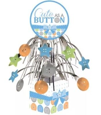 Baby Boy Shower Themes Decorations (Boy Baby Shower Party CUTE AS A BUTTON CENTERPIECE DECORATION Supplies)