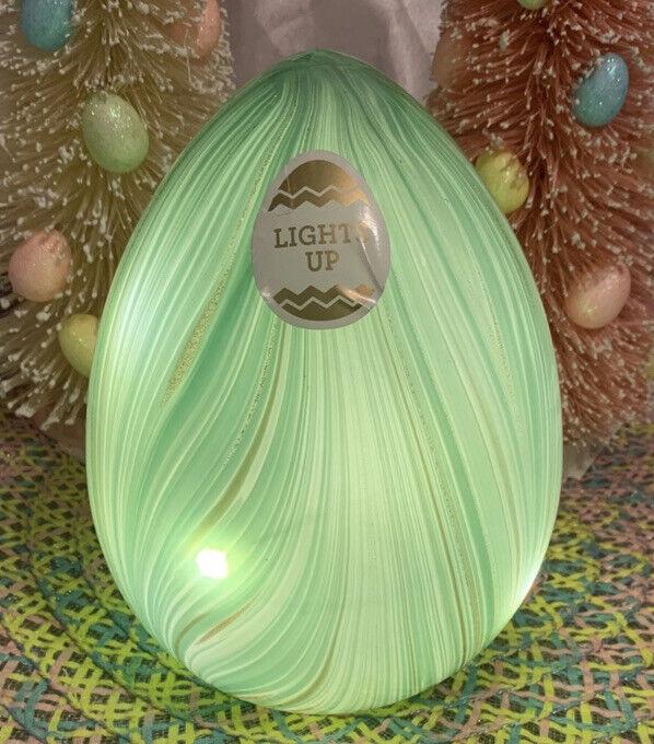 Murano Style Art Glass Easter Egg Blue Green Gold Swirl Led Light Up Lighted New
