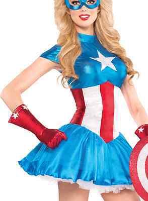 Avengers Captain America Dream Female Adult Costume Size L 10-12 Licensed Marvel](Female Avenger Costumes)