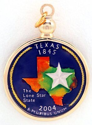 Hand Painted State Quarter - Texas State Quarter Lone Star Hand Painted Pendant Special Gift  Free US Post