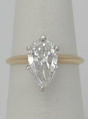GIA 14K YELLOW GOLD 2.18ct PEAR TEAR DROP SOLITAIRE DIAMOND ENGAGEMENT RING