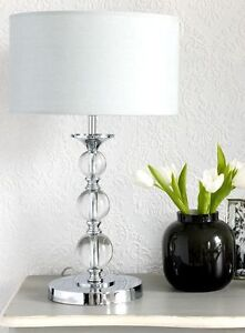 PAIR CRYSTAL TABLE LAMPS  BEDSIDE LAMP SHADE INCLUDED MODERN ELEGANT DESIGN