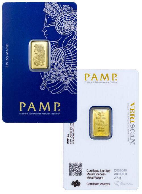 PAMP Suisse 2.5 Gram .9999 Gold Bar Fortuna W/ VeriScan Certificate SKU29095
