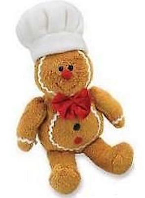 """9"""" Brand New Soft Christmas Gingerbread Man Chef Cook Baker Dickie Bow Teddy Toy"""