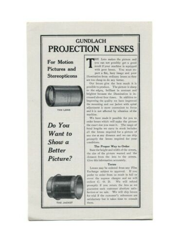 Gundlach Projection Lenses for Motion Pictures And Stereopticons: 1915 Flyer