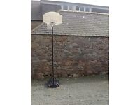 Basketball net and stand.