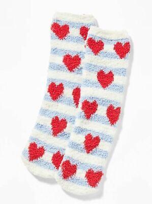 OLD NAVY Chenille Women's COZY SOCKS Plush one-size Red Heart, Blue/White Stripe