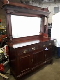 Vintage Side Board With Mirror