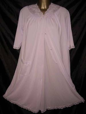 VINTAGE ORIGINAL LILAC SLIPPERY SILKY NIGHTGOWN ROBE PEIGNOIR SET SIZE SMALL UK
