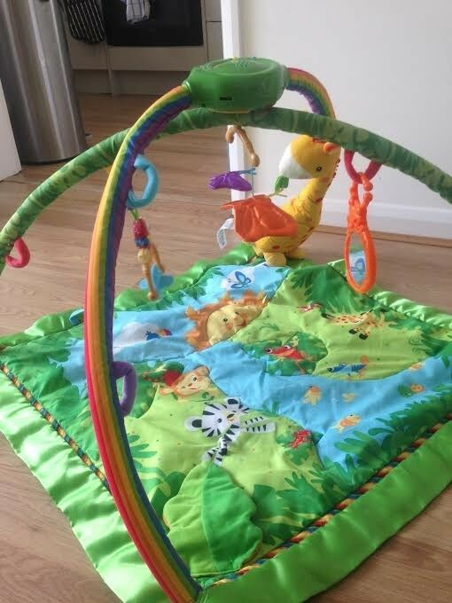 Used Fisher Price Rainforest Baby Play Mat/Gym with lights and sounds