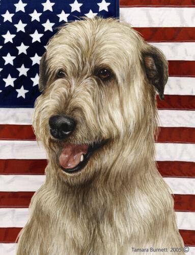 Patriotic (D2) House Flag - Wheaten Irish Wolfhound 32330