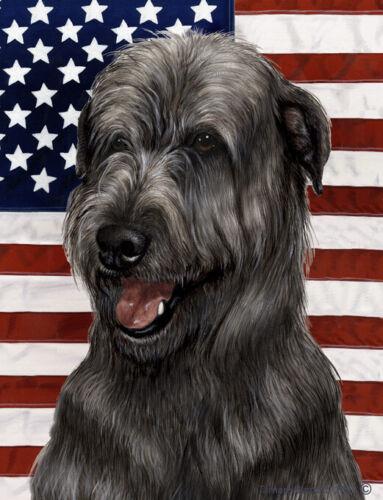 Patriotic (D2) House Flag - Black Irish Wolfhound 32164