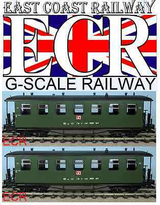 Used, A PAIR YES TWO G SCALE GAUGE RAILWAY PASSENGER CARRIAGE GREEN GARDEN COACH TRAIN for sale  Shipping to Ireland
