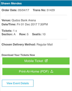 SHAWN MENDES *5TH ROW* FLOOR TICKET SYDNEY 01/12/17 Morayfield Caboolture Area Preview