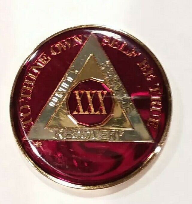 30 Year AA Sobriety Coin Medallion- Rich Mandarin Red Enamel 30th Year XXX BSP
