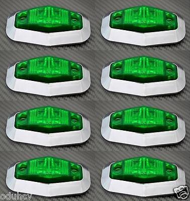 8x 12V LED lato Verde Cornice cromata luci di ingombro