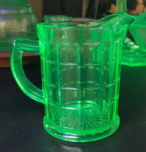 Vaseline Glass Block Optic Creamer, Anchor Hocking