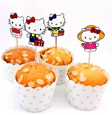 Hello Kitty Party Food (Hello Kitty Cupcake Toppers/ Food Picks Girls Party Decoration Favor Set Of)