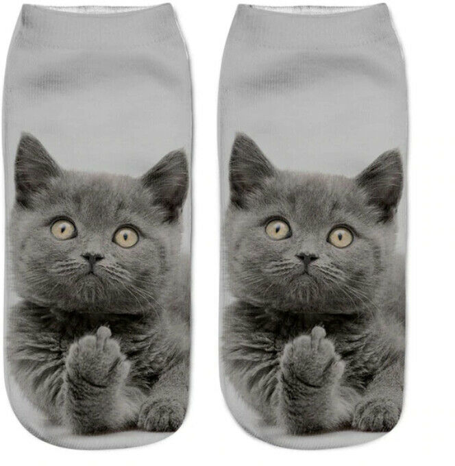 Sneaker Halbsocken Lustig Damen Füßlinge Kurze Socken Katzenmotiv 3D Katze Druck