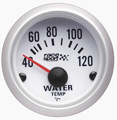 Sumex Branded 52mm Diameter 12V Car Water Thermometer Gauge Dial - Satin Silver