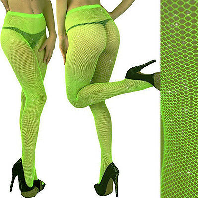 LIME GREEN- Silver GLITTER FISHNET PANTYHOSE/TIGHTS/CROSSDRESSER/Neon/DRAG QUEEN - Glitter Pantyhose