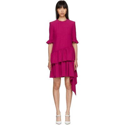 NEW ALEXANDER McQUEEN Pink Peplum Ruffle Asymmetric Drape Drop Waist Dress 40 4
