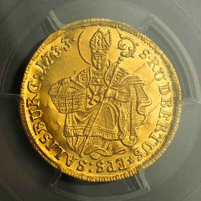 1733 SALZBURG LEOPOLD ANTON ELEUTHERIUS. BEAUTIFUL GOLD DUCAT COIN. PCGS UNC