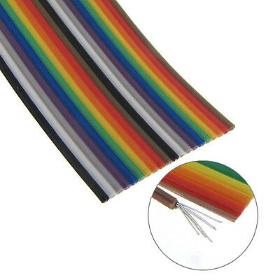 5 Long 28awg Stranded Color Coded Flat Ribbon Cable - 20 Conductors