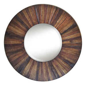 * BRAND NEW* Beautiful Round Glass Mirror with Wood Trim