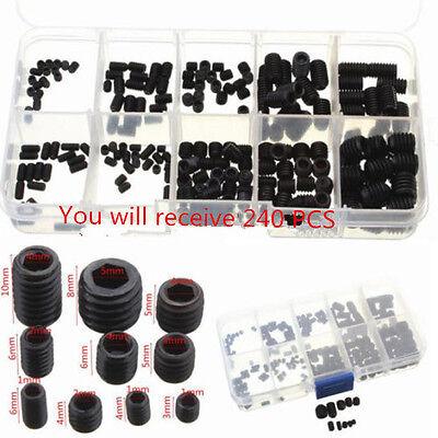240 Socket Screw Assortment Allen Head Hex Set Grub Kit M3 M4 M5 M6 M8 Grade 8 ()