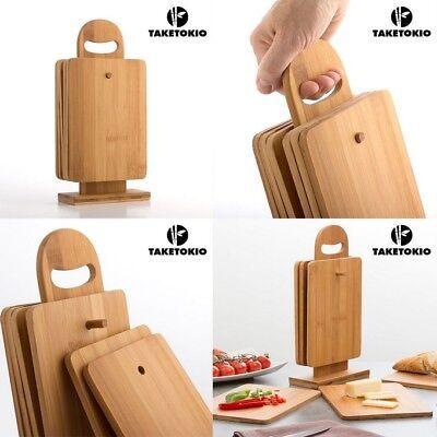 Kit de cocina de 6 Tablas de cortar + soporte, de madera...