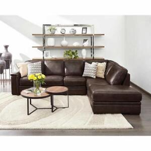 Top Grain Leather Sectional with pull - out