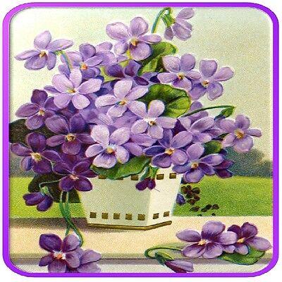 30 Custom Vintage Purple Flowers Personalized Address Labels