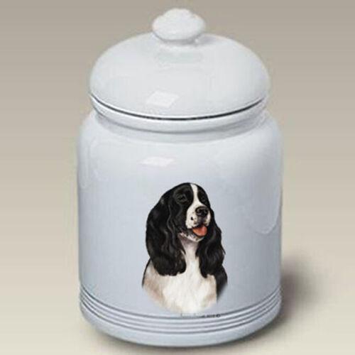 English Springer Spaniel Black & White Treat Jar