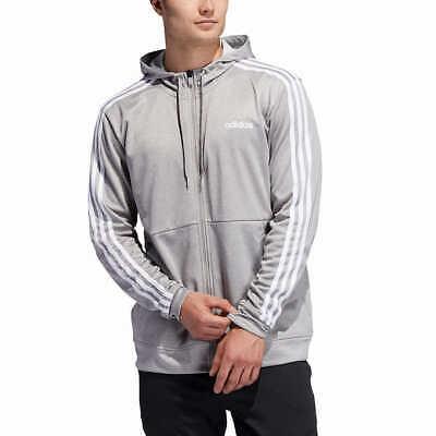 Adidas Mens Active Tech Fleece Hoody 3-Stripe Grey White Full Zip Sizes XL, 2XL
