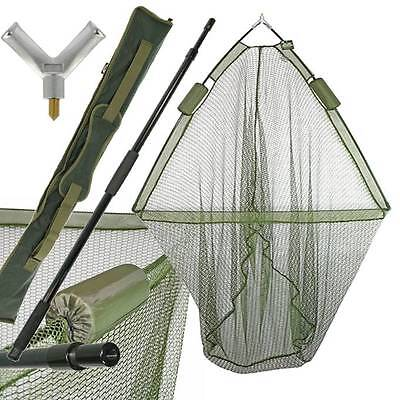 "42"" CARP FISHING LANDING NET DUAL NET FLOAT with HANDLE DELUXE GREEN STINK BAG"
