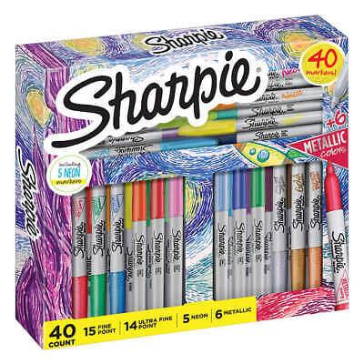 Sharpie 40 Markers Setassorted Colorsfine Point Ultra Fineneon Metallic
