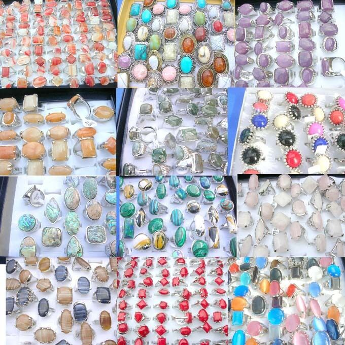 $0.79 each, 50 rings gemstone shells glass crystal wholesale bulk lot