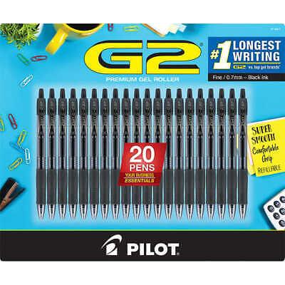 Pilot G2 Retractable Gel Pen Fine Point 0.7mm Black Ink 20 Ct
