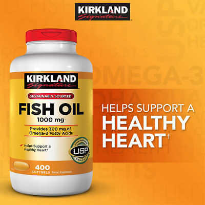 Kirkland Signature Omega 3 Fish Oil 1000 Mg 400 Ct Softgels  Exp 10 2019