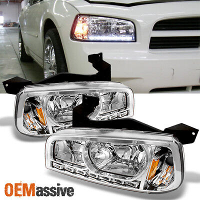 Fit 06-10 Dodge Charger LED Headlights w/Corner Signal Lamps L+R Replacement
