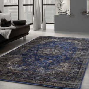 Royal Blue Distressed Persian Area Rug - $220