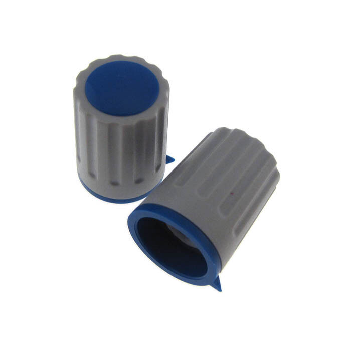 Plastic ABS Switch Potentiometer Knob Knurled D15 - Blue - QTY(2)