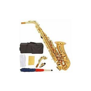Unused New Mendini E-Flat Alto Saxophone, Gold + Accessories Bag
