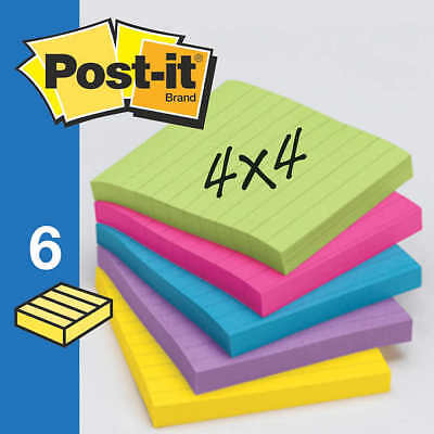 Post-it Super Sticky Lined Notes 4 X 4 Assorted Bright Colors 6ct