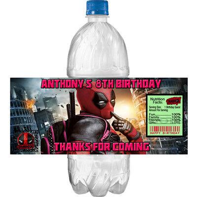 (20) Personalized DEADPOOL 2 x 4 Glossy Water Bottle Labels ~ Waterproof Ink - Deadpool Party Supplies