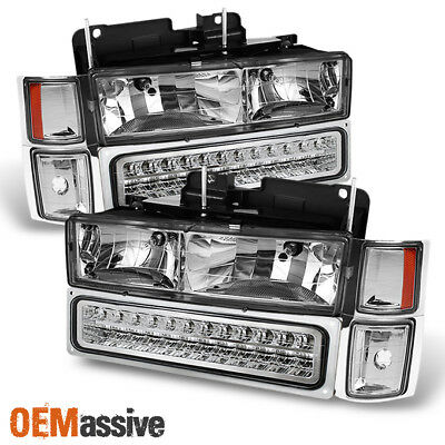 Fit 1994-98 Chevy C10 C/K Suburban Tahoe Silverado Headlights +LED Bumper+Corner