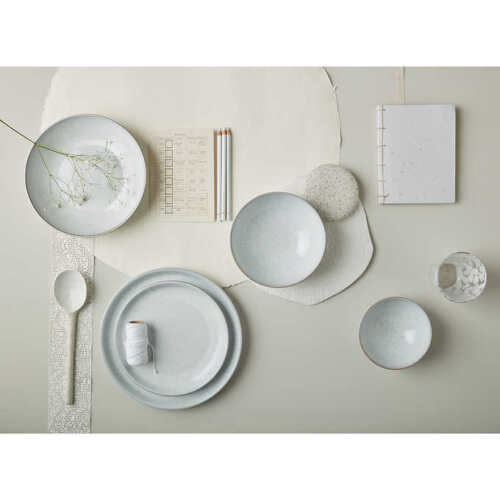 Denby China White Speckle 12 piece Dinnerware Set Cereal Bowl Dinner Salad Plate