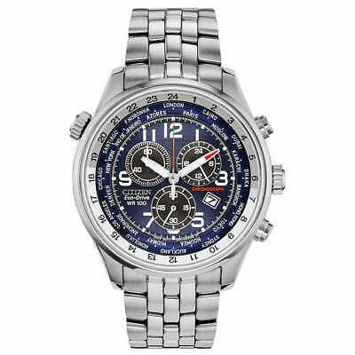 Citizen Eco-Drive Chronograph Silver-Tone Stainless Steel Men's, Blue AT0361-57L