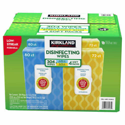 Kirkland  Disinfecting Wipes kills 99.9% of viruses - bacteria 4 Soft. 304 wipes